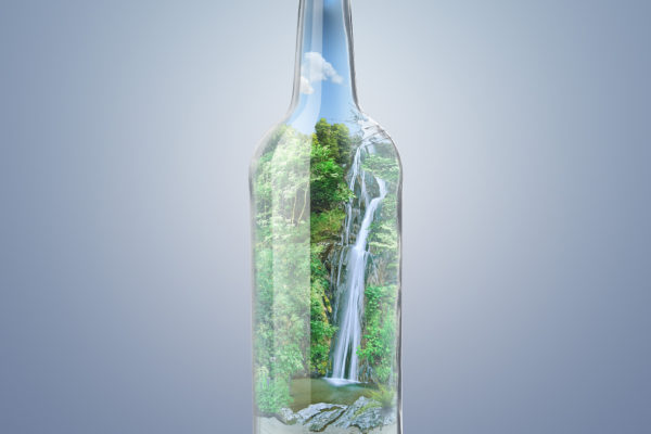 Photo manipulation – Waterfall in a bottle